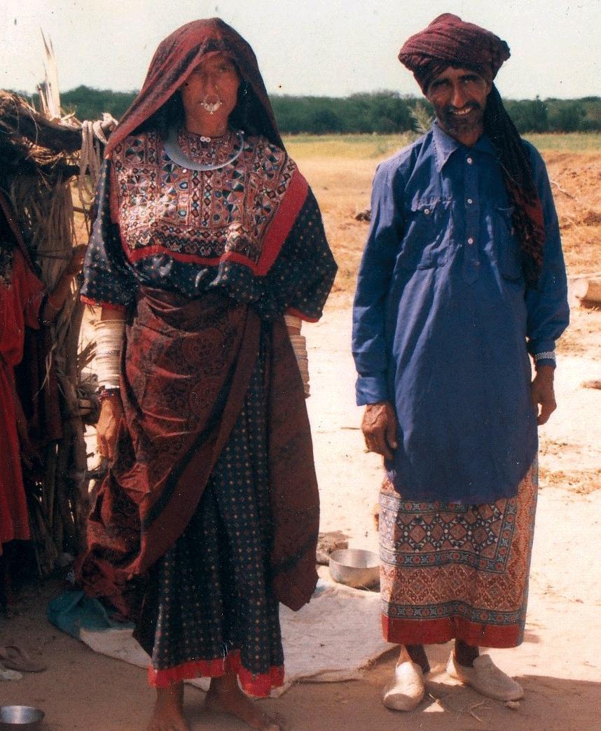A Jat Maldhari couple; the Jat man is wearing a traditional Ajrakh dhoti