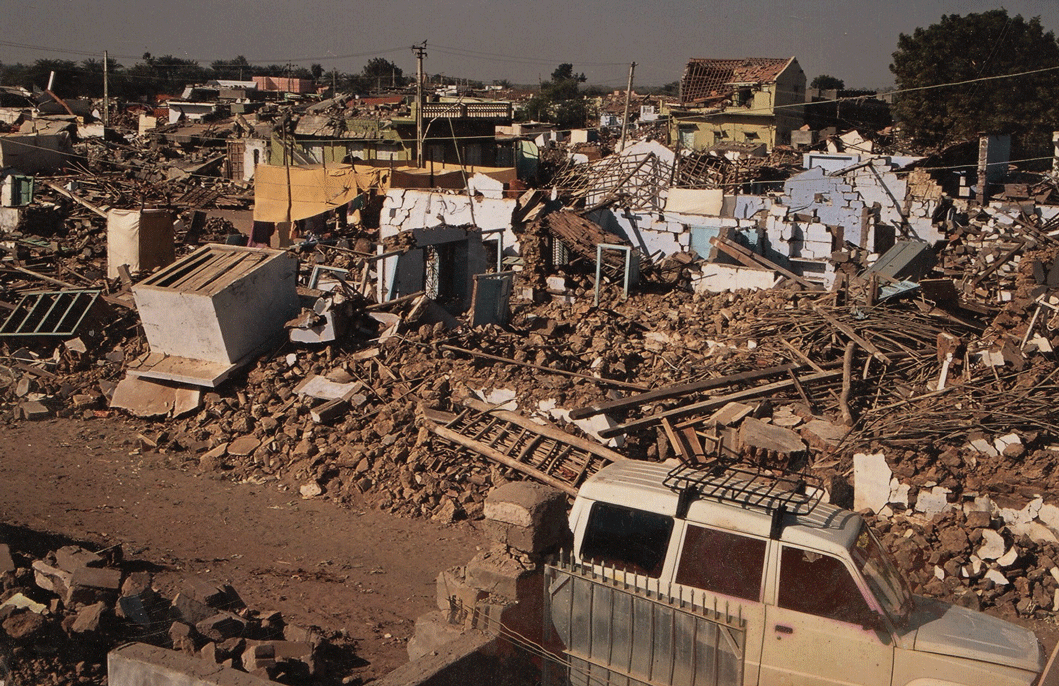 Dhamadka village in the aftermath of the earthquake in January, 2001