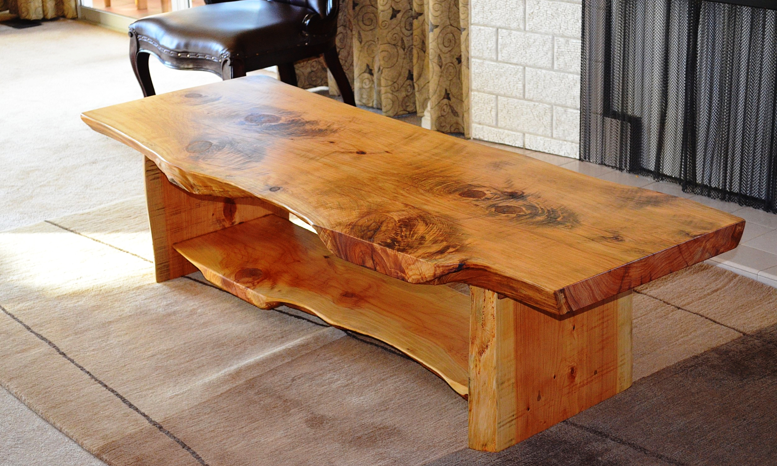 1.8m Coffee table with magazine rack and slab legs $873
