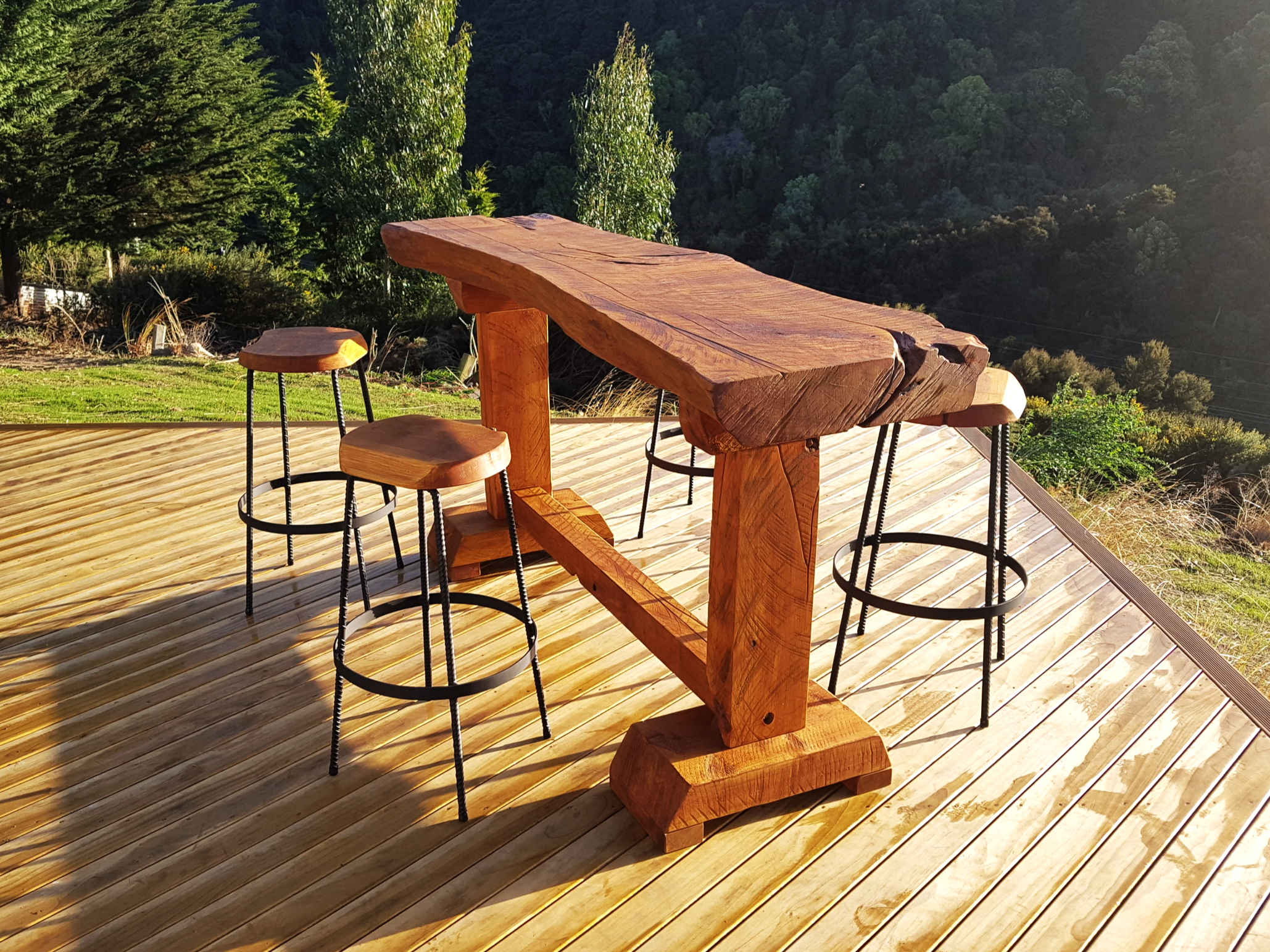 Outdoor Leaner and stools, See  price