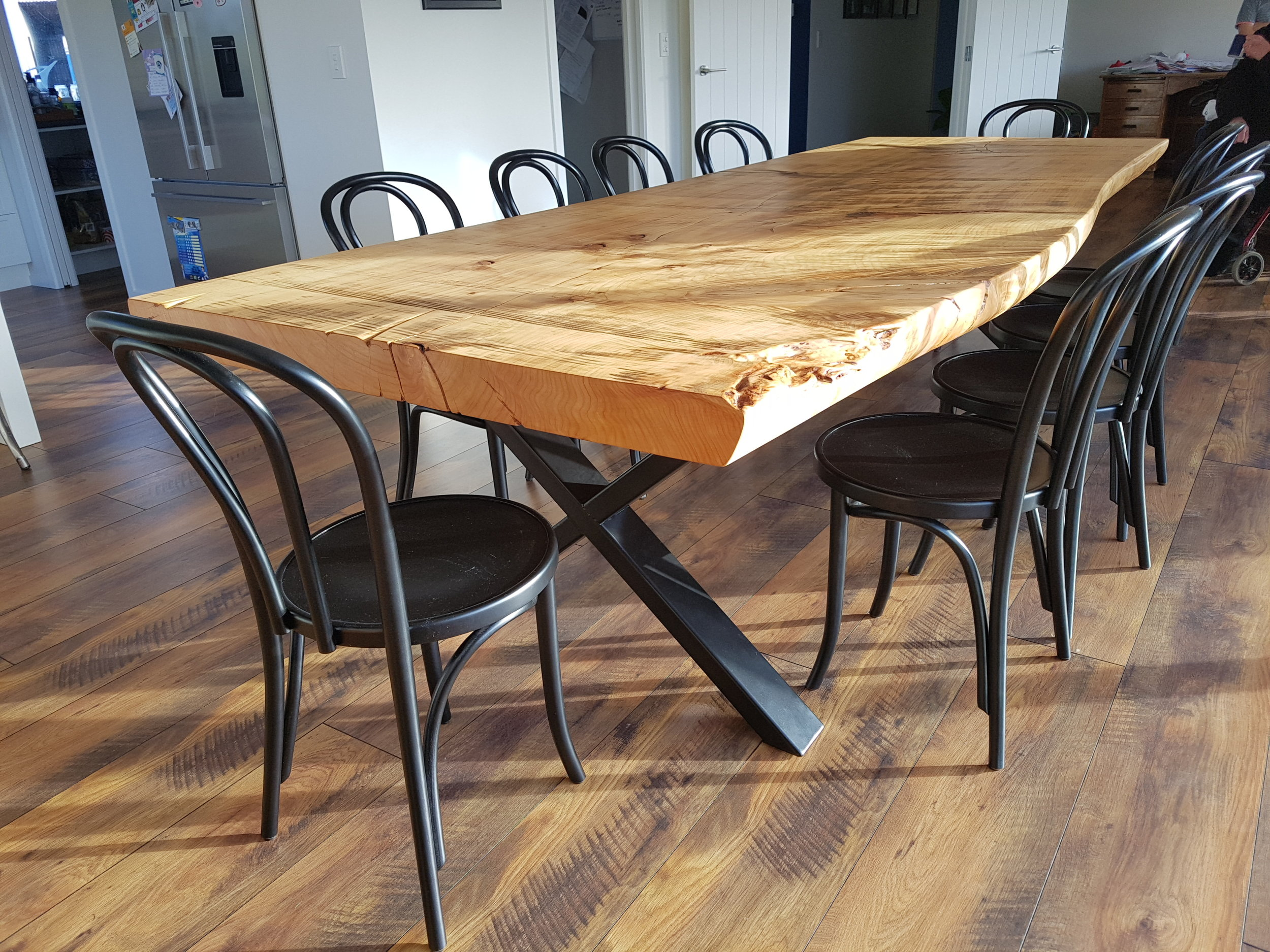 Macrocarpa Dining Table with X style steel legs,   dining table prices  .