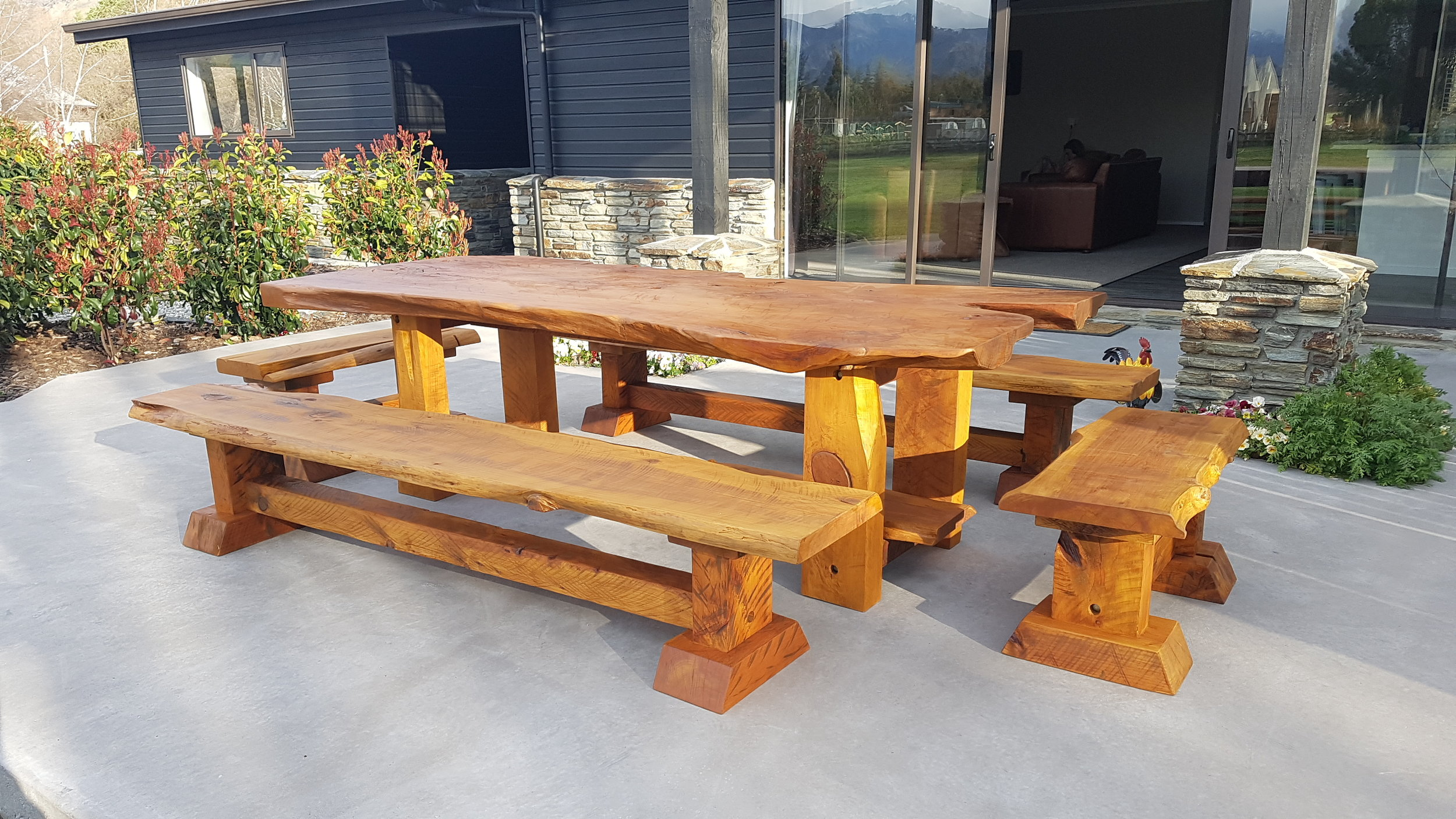 Rustic 2.6m Macrocarpa Table Set, all outdoor furniture is custom made. See   Outdoor furniture price   .