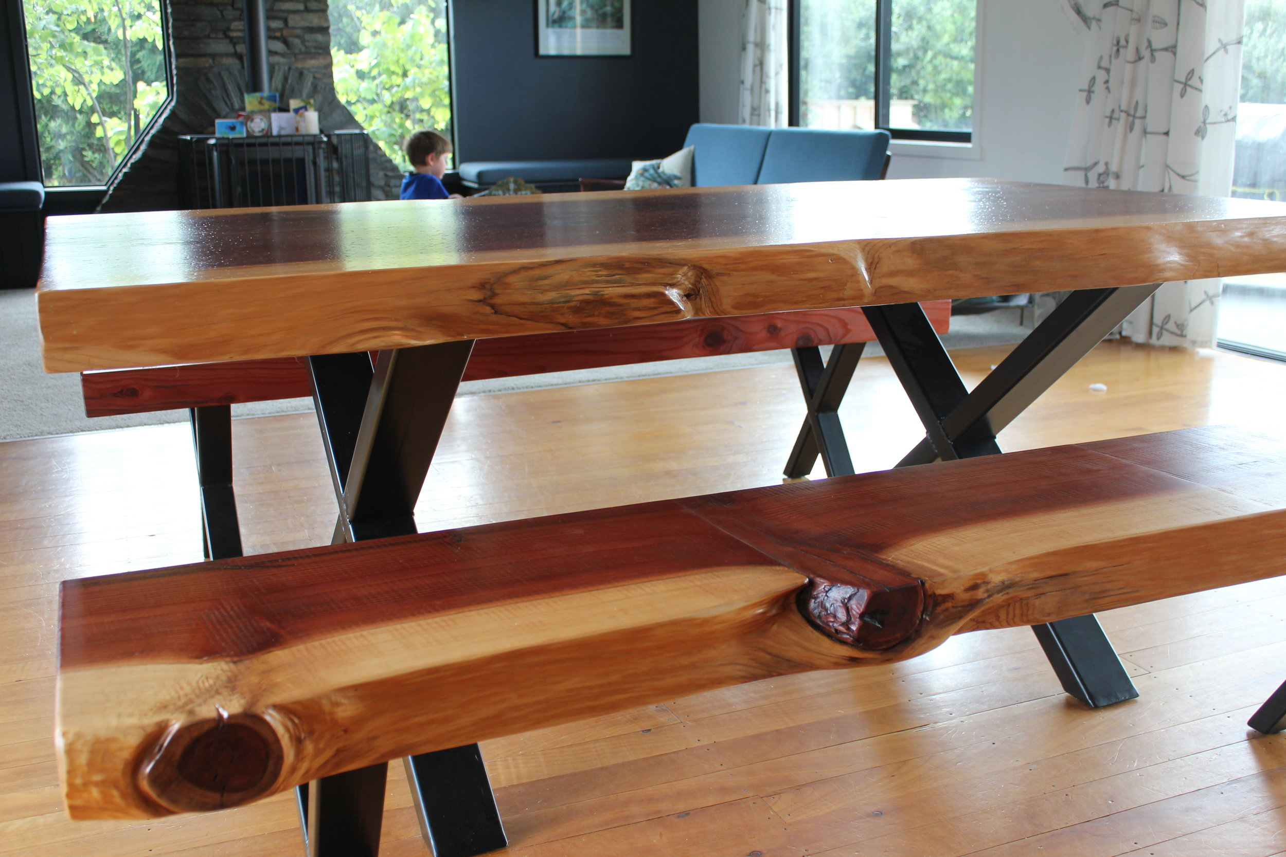 2m Redwood Dining Table and Bench Seats.   Dining table prices  .
