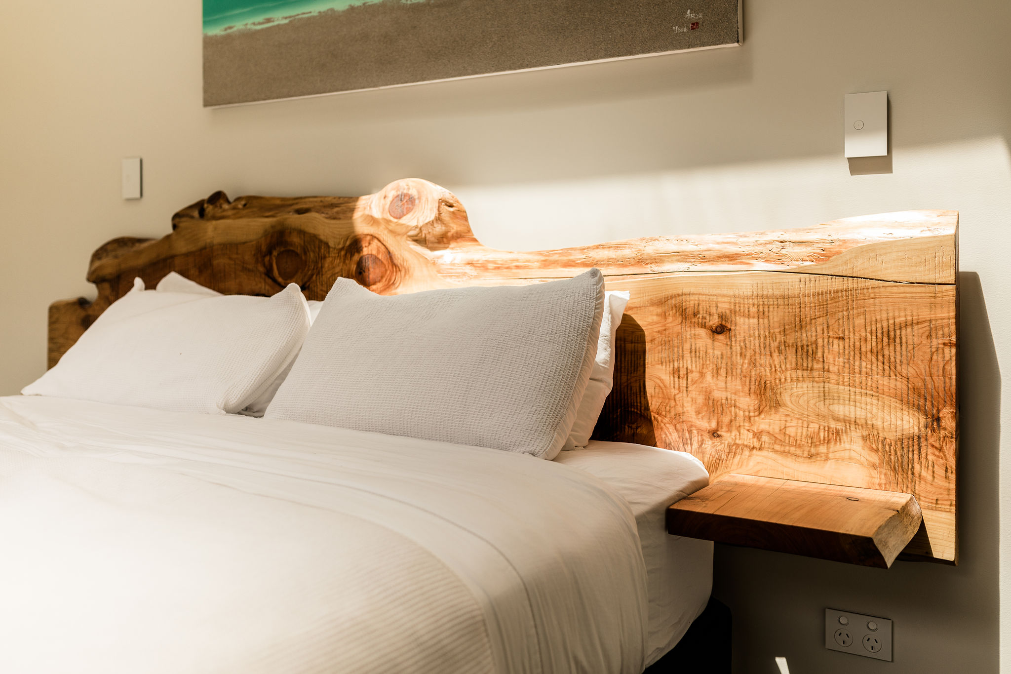 Kingsize Macrocarpa Bedhead with floating shelves,   Price   .