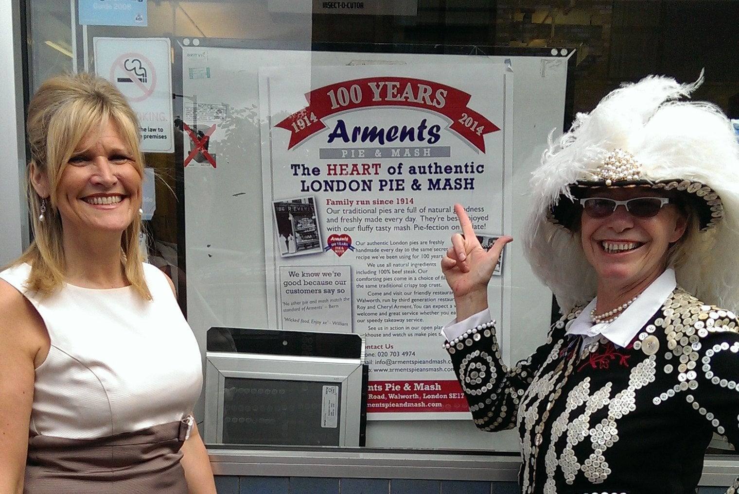 Di with Cheryl at Arments Pie and Mash