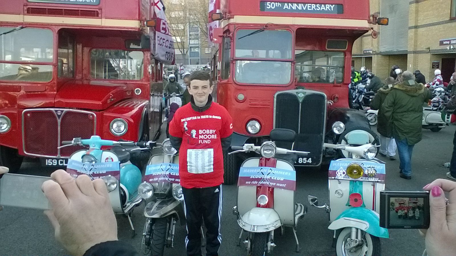 Jonjo Heurman at West Ham United Ground starting his final leg to Wembley.