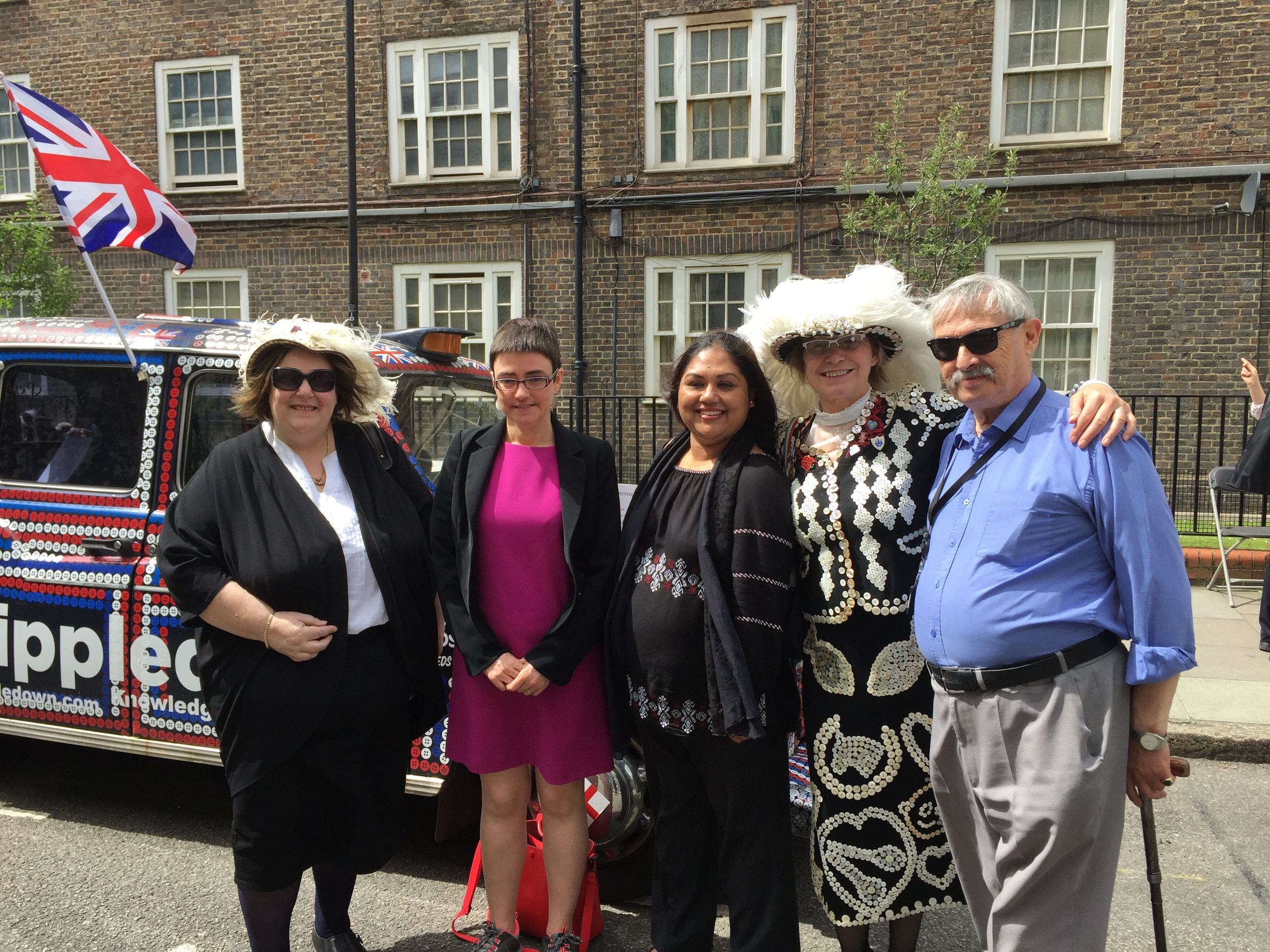 Larraine with some of the members of Camden Councillors the leader Sarah Hayward is in the Pink dress.