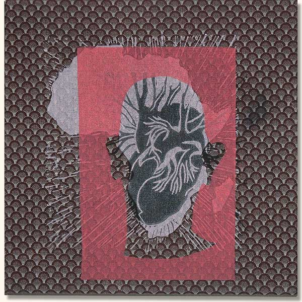 Tattooed Head  with black heart.  (Lino on sheshwe material)