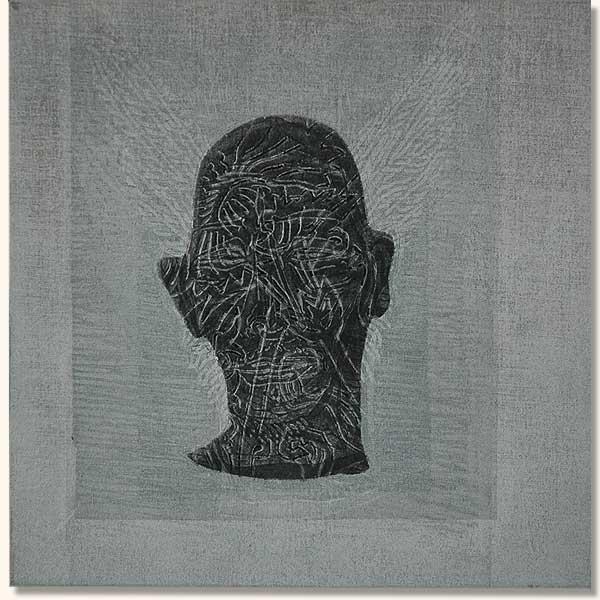 Tattooed Head, Black on White   (  Lino on sheshwe material)
