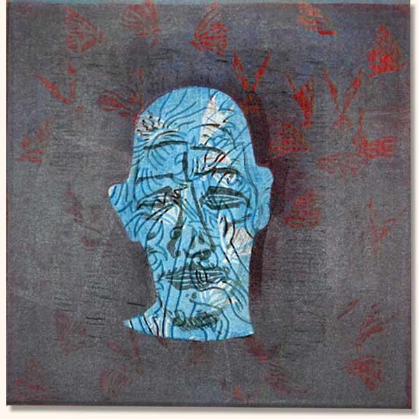 Tattooed Head, blue on burgundy.  (  Lino on sheshwe material)