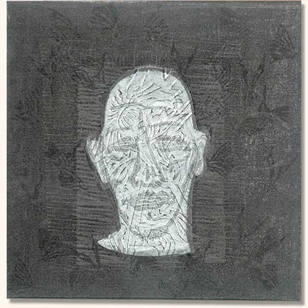Tattooed Head, white on black.  (  Lino on sheshwe material)