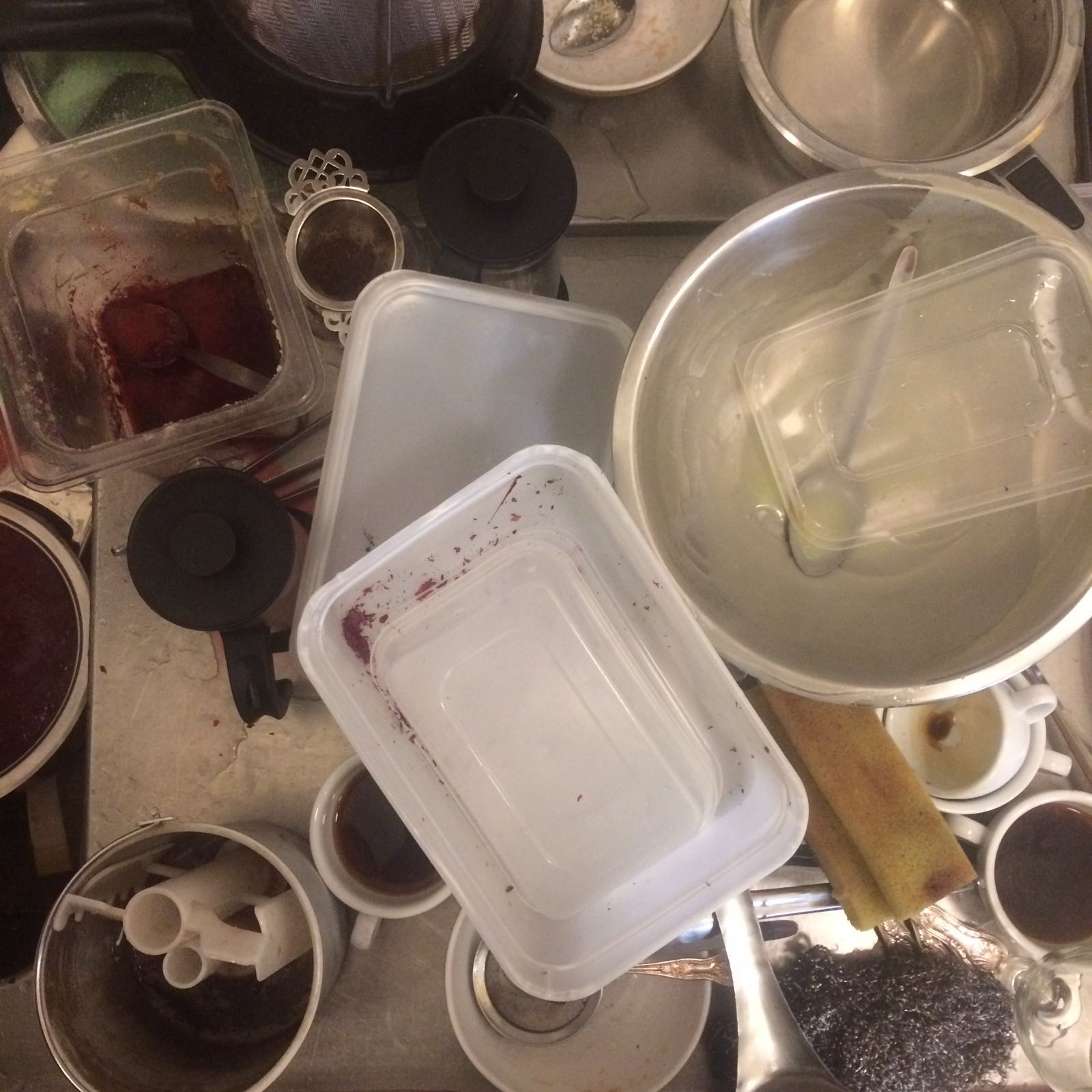 Busy chefs make a lot of mess very quickly (mainly coffee cups).