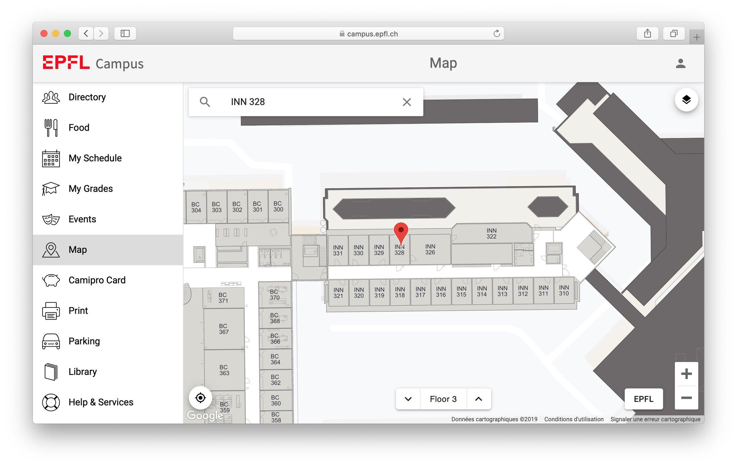 Example: EPFL Campus Web App (https://campus.epfl.ch)