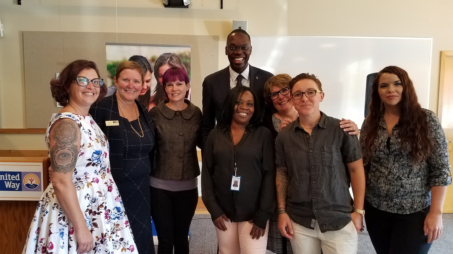 Lt. Governor Garlin Gilchrist with Heart of West Michigan United Way's 2-1-1 team.