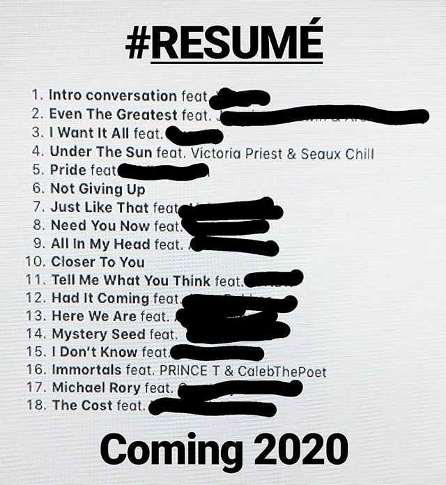 Planning the song order of my full-length album coming in the spring of 2020. #RESUMÉ will showcase my songwriting,  my ear as a producer, and my overall ability to create music.  There are A LOT of features. That's because I'm not always the right person to capture the lyrics and vocals for a song; I have ideas that are much bigger than me. Plus, I think producers should be able to work vibrantly with others.  There's also a wide range of genres on this album. Some are rock, some are hip hop, some are just plain OUT THERE.  Just wanted to let you know to be on the lookout for it. #musicproducer #producerlife #songwriting #chattanoogamusicscene #chattanooga #tennessee #nashville #album #TennesseeSoul #poet #resume