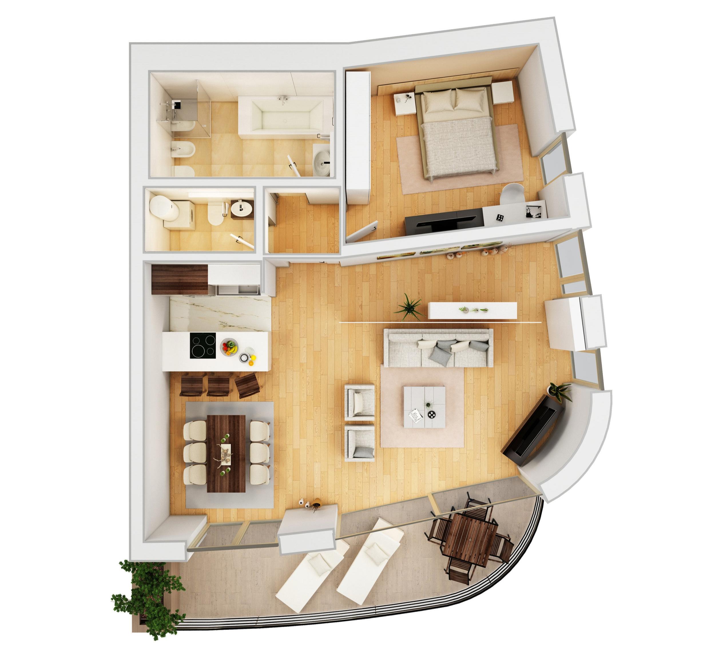 Общая площадь: 99м2,   Этаж: 1, Спальни: 1, Терраса: 18м2