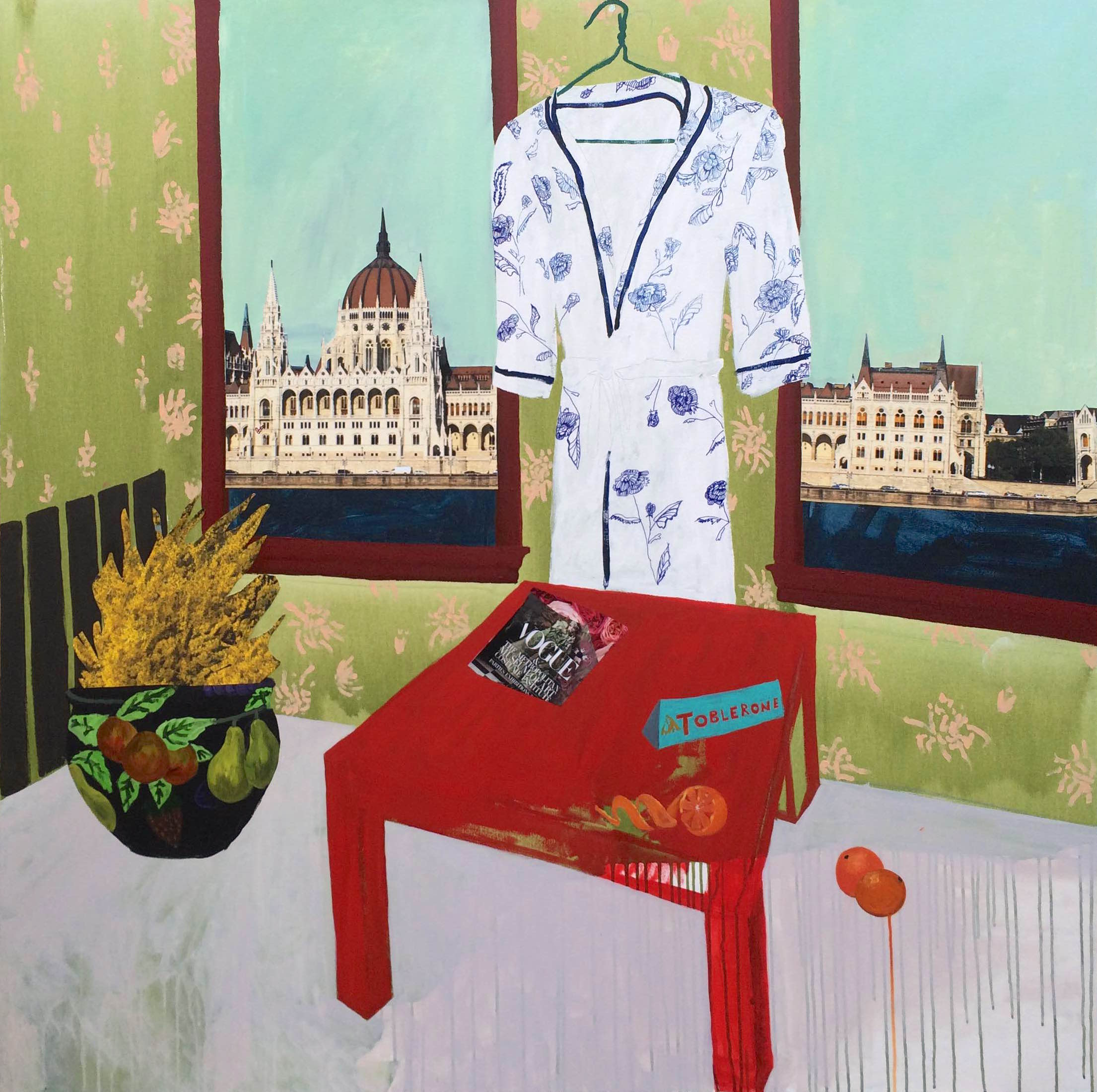 """Hungarian Dreams on Negley  / Acrylic and mixed media collage on canvas, 2015, 48"""" x 48""""© 2014"""