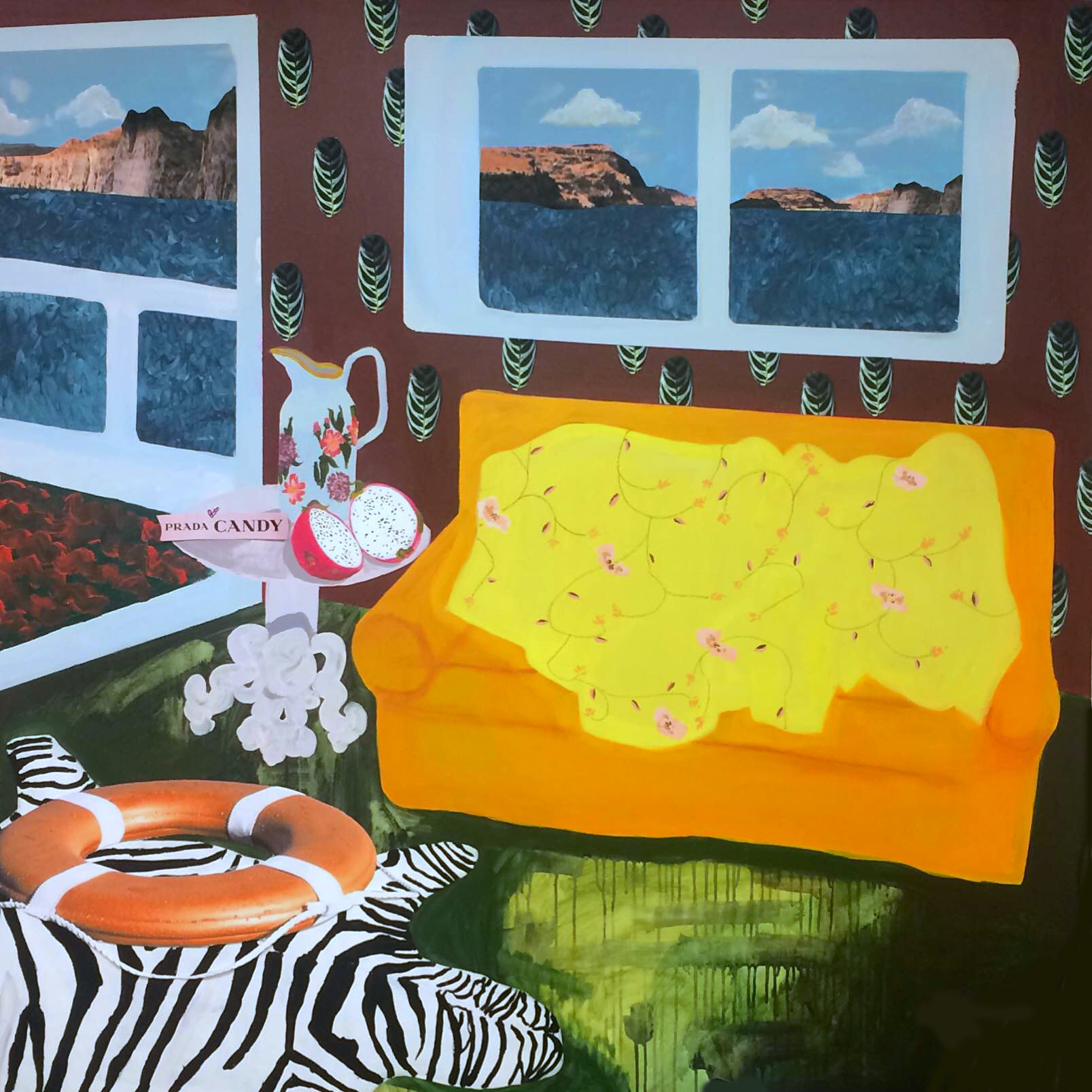 """Anderson and Matisse eat Prada on Lake Powell  / Acrylic and collage on canvas, 2016,60"""" x 60""""© 2014"""
