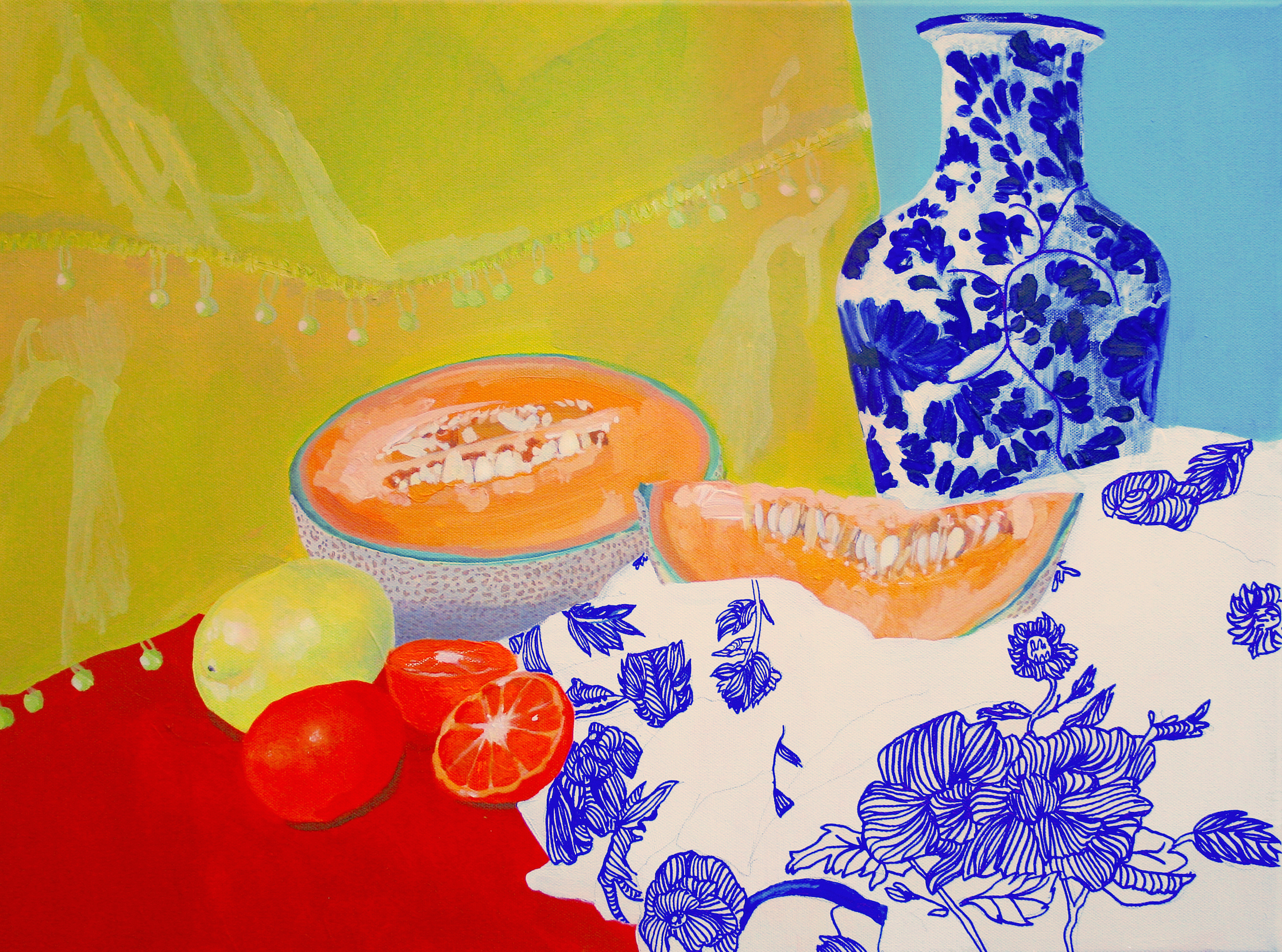 """Canteloupe, citrus, china  / Acrylic and mixed media collage on canvas, 2016, 24"""" x 18""""© 2014"""