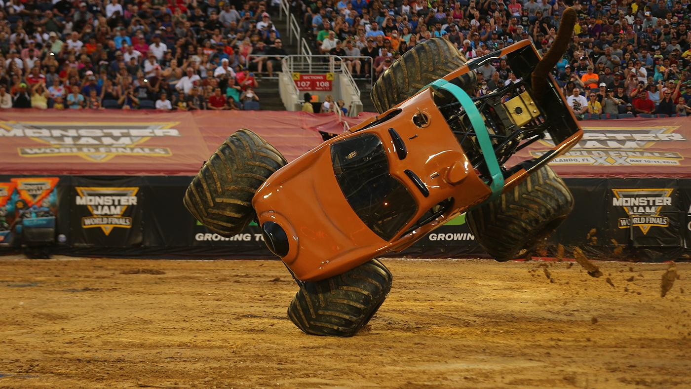 The final night of Monster Jam's World Finals got a woman's touch. Photo Credit: Brett Moist  and Monster Jam.