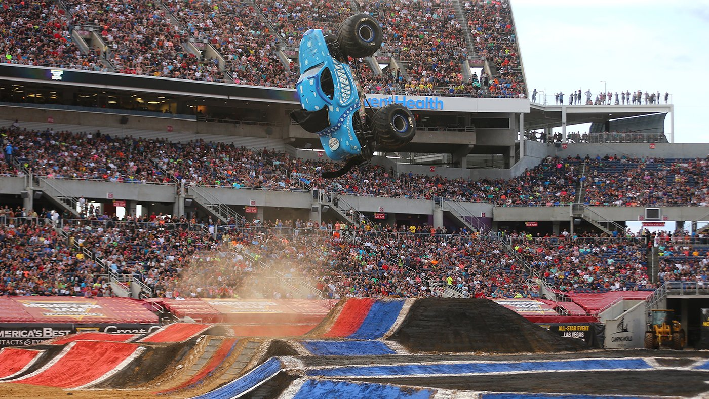 The newest championship for Monster Jam literally reached new heights. Photo Credit: Brett Moist and Monster Jam.