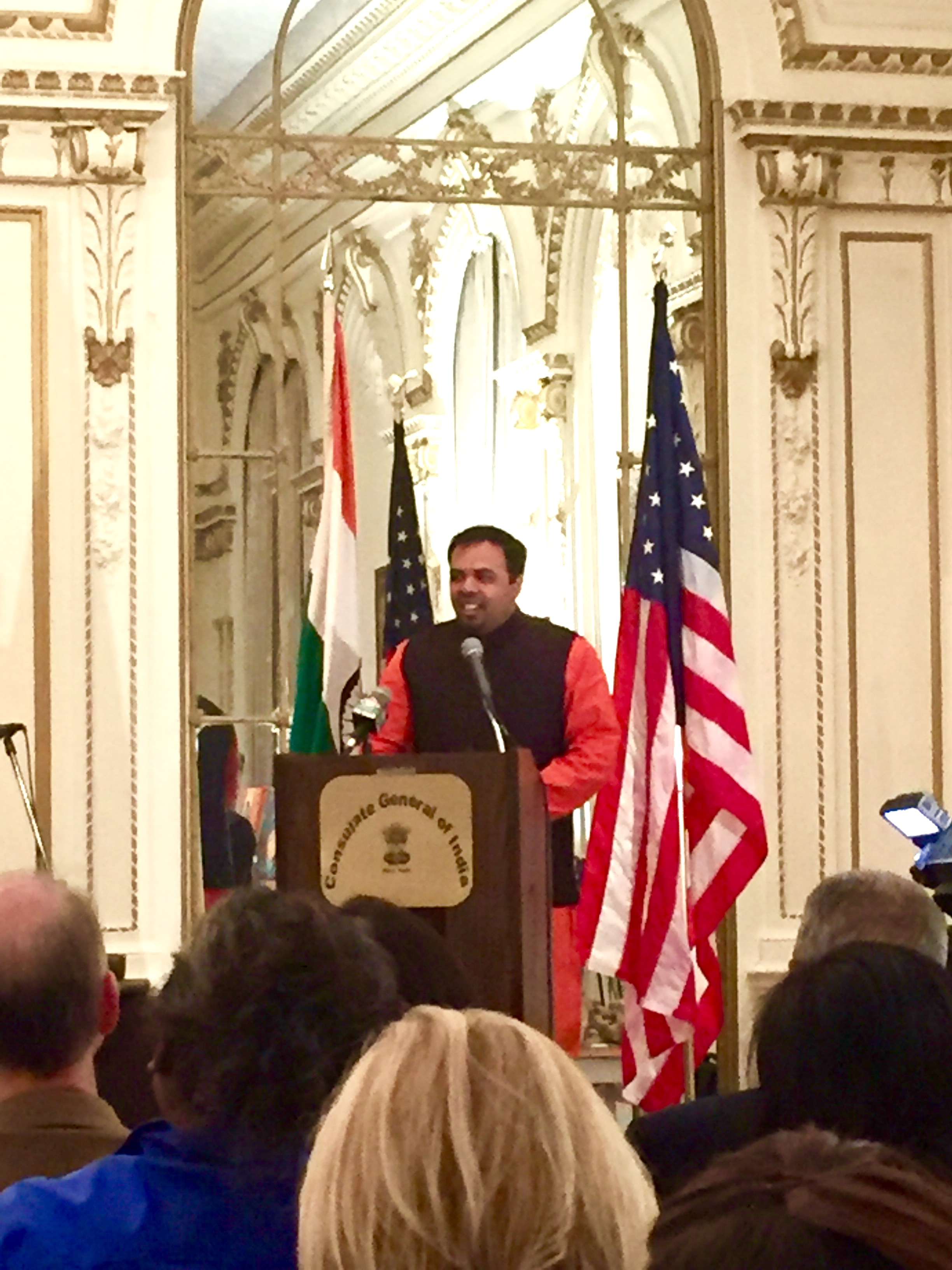 Addressing dignitaries at the Indian Consulate, New York, October 2015