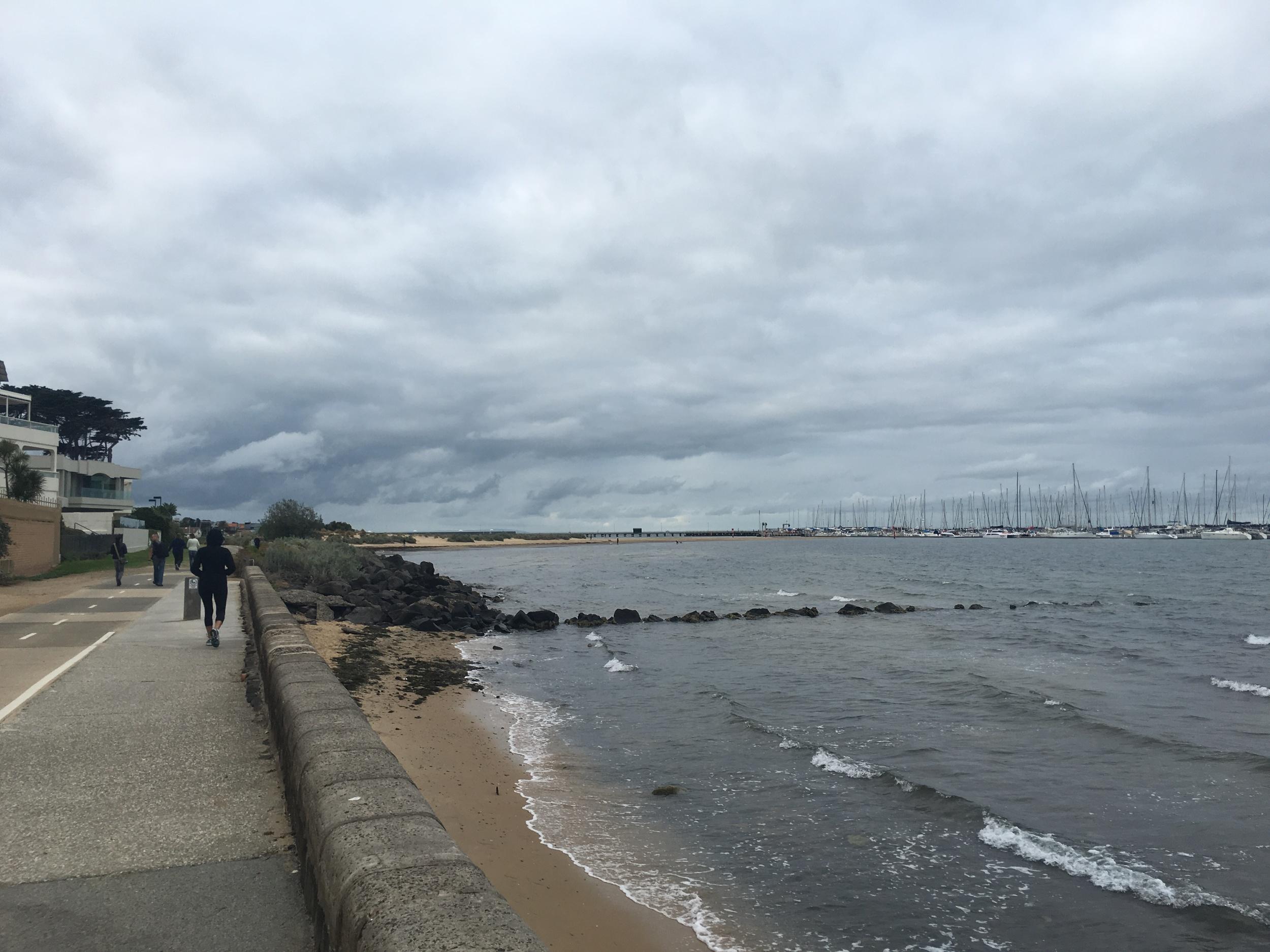 Walking along Brighton Beach