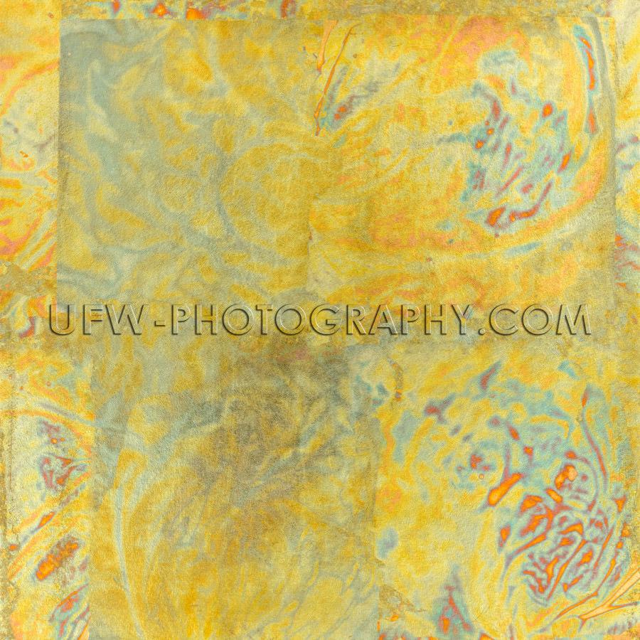 Abstract gold yellow orange blue metal square background XXL Sto