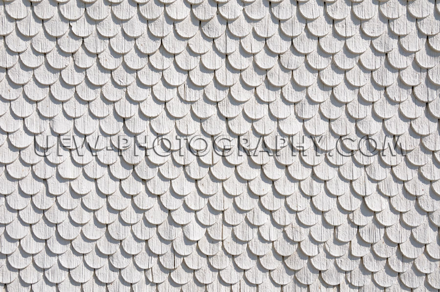 Wood shingle wall circular pattern white gray background Stock I