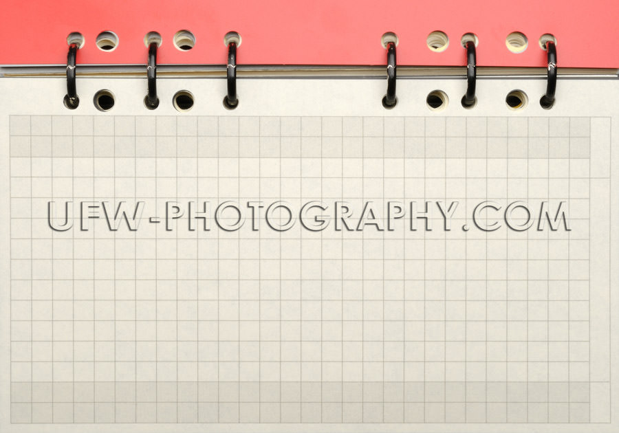 Squared paper blank page spiral binding personal organizer Stock