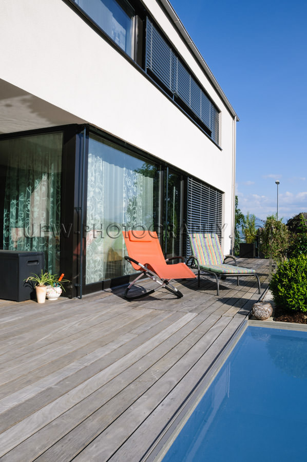 Contemporary architecture modern home pool deck outdoors Stock I
