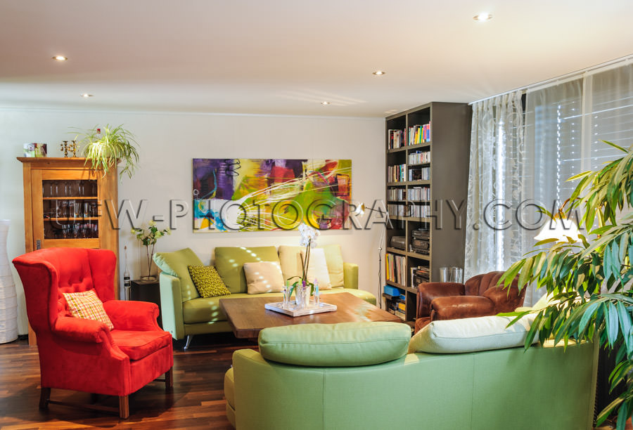 Contemporary living room sofa cupboard fancy red armchair Stock