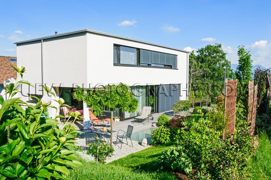 Family home modern contemporary beautiful garden pool - Stock Im
