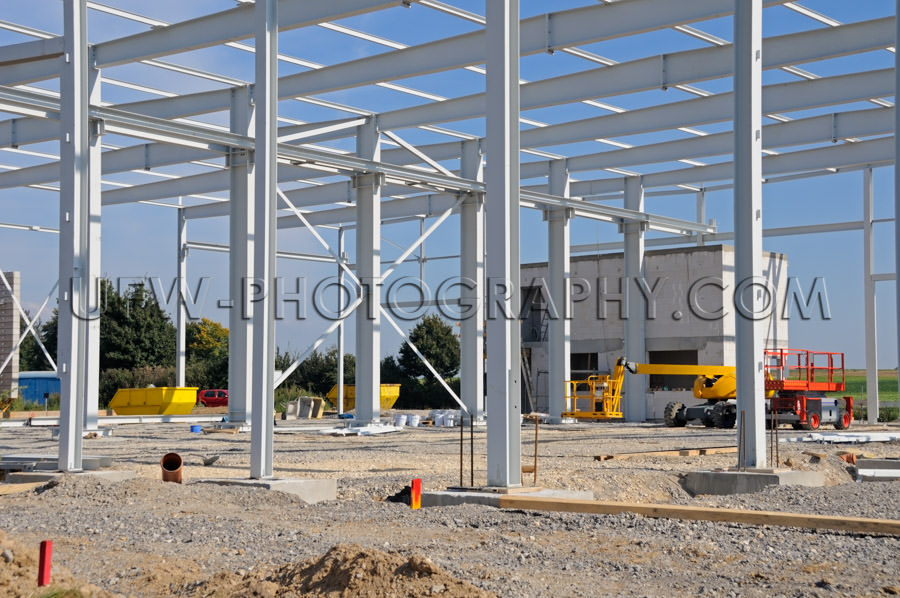 Industrial construction site metal frame building factory Stock