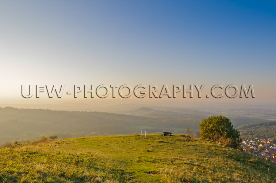 Awesome Panoramic Landscape View Autumn Mountain Plateau At Suns