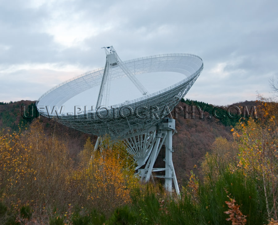 Huge radio telescope metal structure hilly autumn landscape Stoc