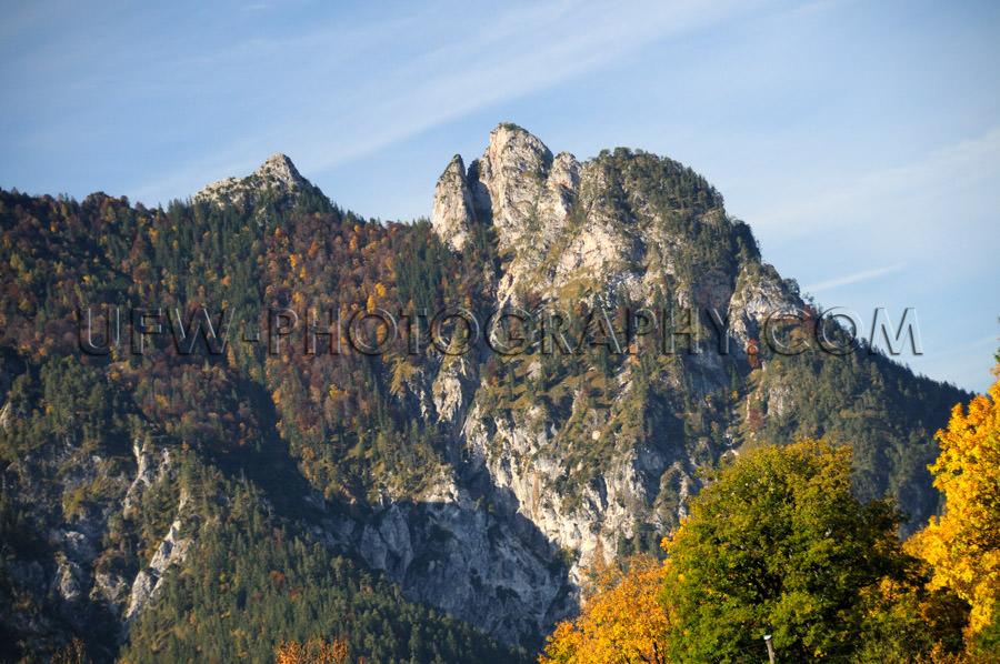 Rock formation alpine sleeping witch mountain ridge autumn Stock