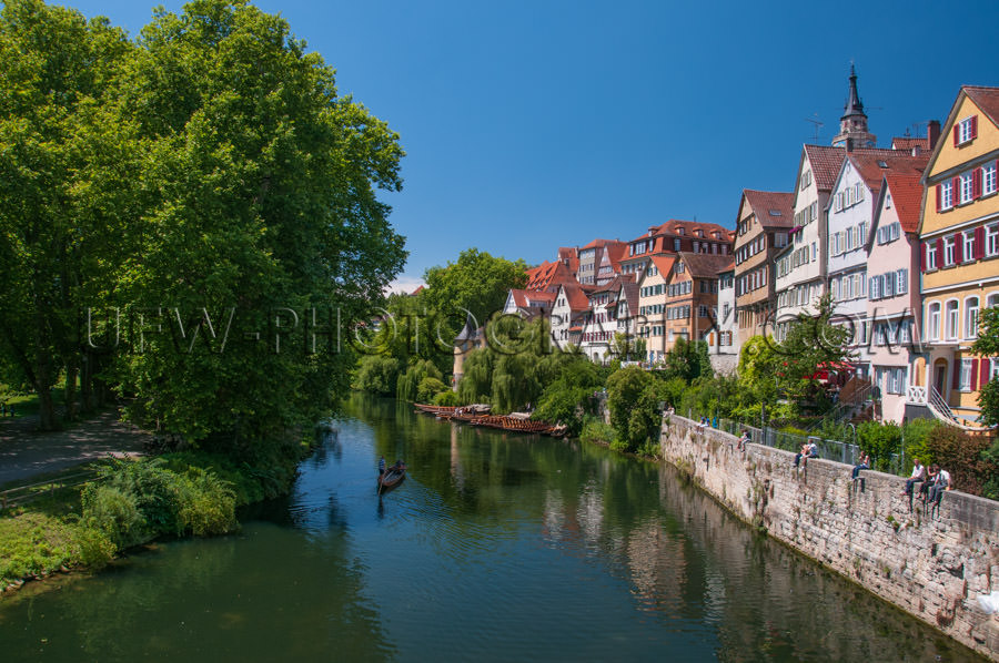 Picturesque medieval university town river trees old houses Stoc
