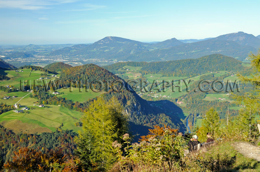 Spectacular, panoramic view of the beautiful autumn alpine lands