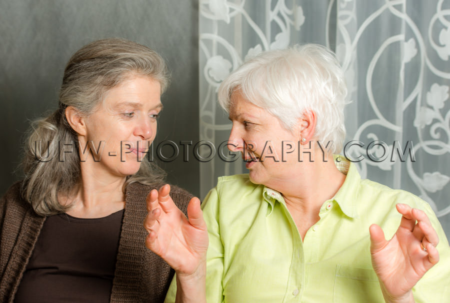 Two mature women taking lively looking face to face Stock Image