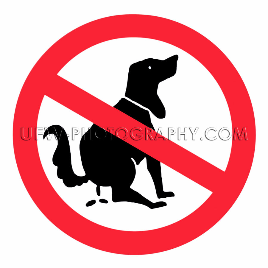No dog fouling sign pooping prohibited isolated on white Stock I