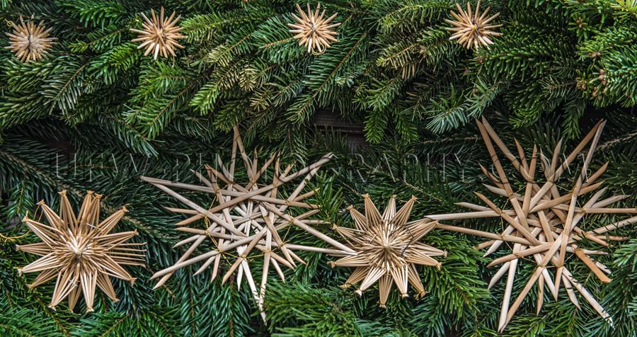Christmas decoration fresh fir branches nice straw stars Stock I