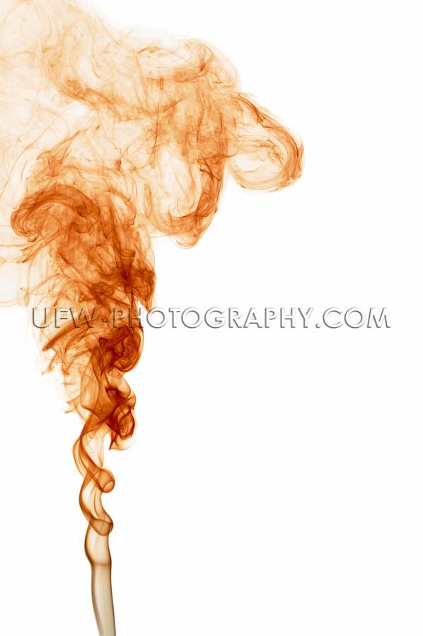 Beautiful orange colored smoke texture white background Stock Im