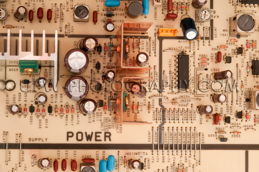 Circuit board retro electronic components from above Stock Image