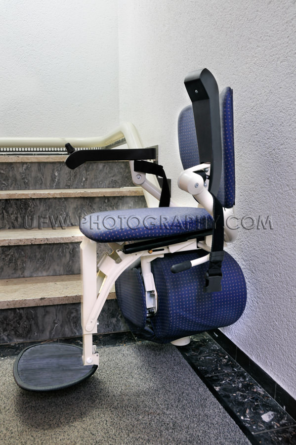 Chair stair lift elevator for the disabled in downstairs positio