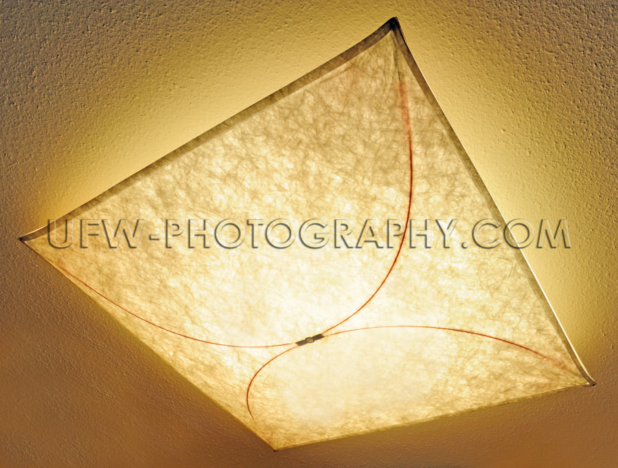 Ceiling lamp indirect light illuminated textile pattern Stock Im