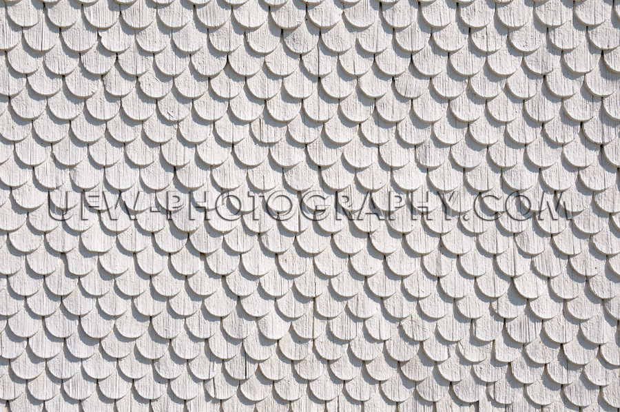 Holz Schindel Wand Kreisförmiges Muster Weiß Grau Hintergrund