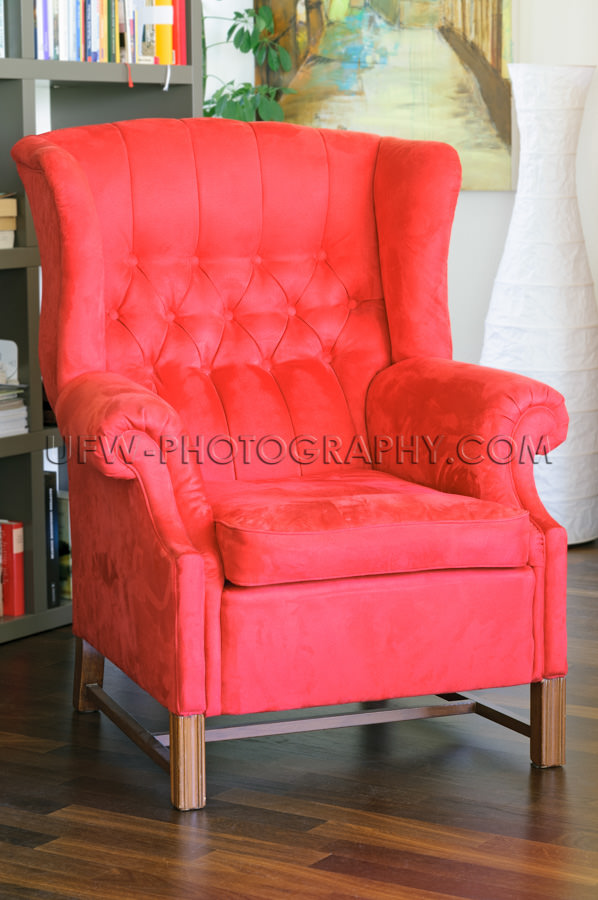 Gemütlich Rot Sessel Bücherregal Bevorzugte Leseecke Entspanne