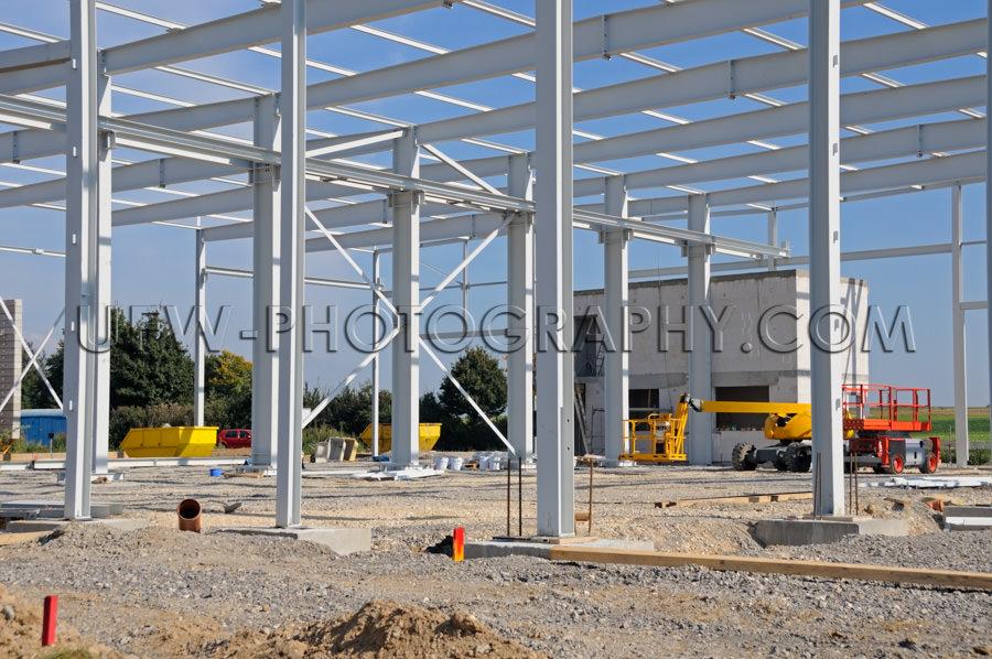 Industrie Baustelle Metallrahmenkonstruktion Fabrikbau Industrie