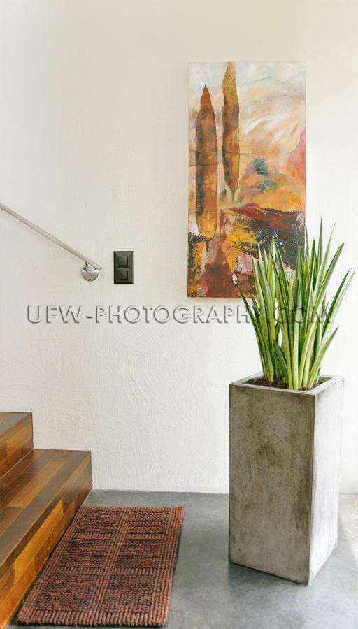 Modernes Innenarchitektur Parkett Treppen Gemälde Eingangsberei